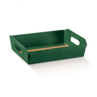 Scatola cesto automontante in cartone verde bosco