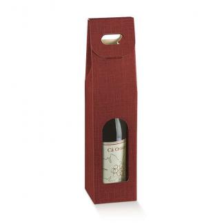 Scatola porta bottiglie in cartone bordeaux con finestra frontale e maniglia superiore