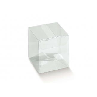 Scatola in plastica trasparente, con base quadrata automontante a incastro, confezioni da 10 pezzi