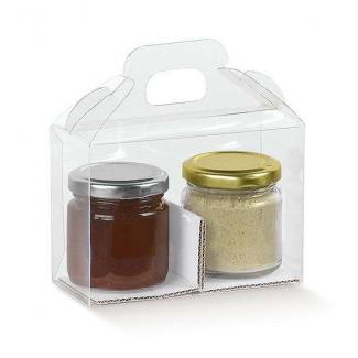 Scatola valigetta porta cupcakes/maffin/vasetti, in plastica trasparente