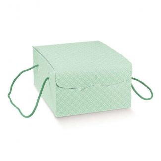 """Scatola """"segreto"""" automontante con cordini, base rettangolare in cartone verde acqua"""