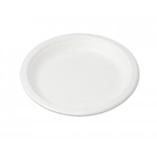 Piatto tondo piano classico in polpa di cellulosa biodegradabile confezione da 50 pezzi