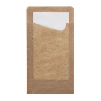 Sacchetto portapanino in carta kraft avana antiunto con tovagliolo bianco 2 veli