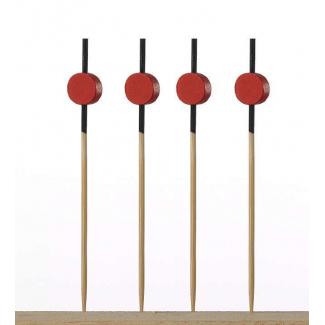 Spiedino in bamboo modello akita con decorazione rossa 9cm. confezione da 100 pezzi