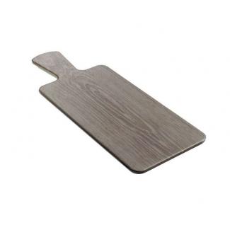 Tagliere in melamina grigia effetto legno con manico 14x37 cm.