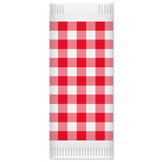 Busta porta posate in carta fantasia scozzese rosso con all'interno tovagliolo 38x38 2veli, cartoni da 1000 pezzi