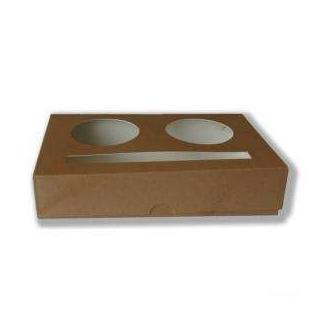 Cestino portabicchieri 2 fori in cartoncino marrone confezione da 20 pezzi