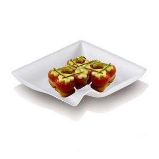 Mini piattino quadrato fingerfood biodegradabile in polpa di cellulosa 8x8cm, confezione da 50 pezzi
