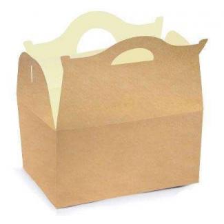 Scatola happy meal antiunto con maniglia in cartoncino bio-compostabile formato 20x14cm h.13, confezione da 25 pezzi