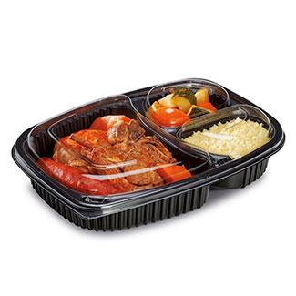 Vaschetta Cookipack senza coperchio PP nero 3 scomparti 25,5x18,9xh4,5 cm conf. 40 pz (art. VASCOOK1250n3c)