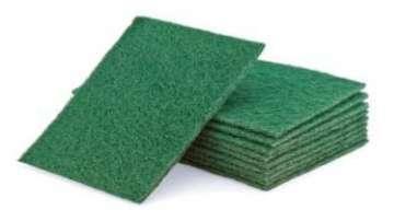 Spugna abrasiva antigraffio e antigrasso verde, 15x23 cm, confezione da 10 pezzi