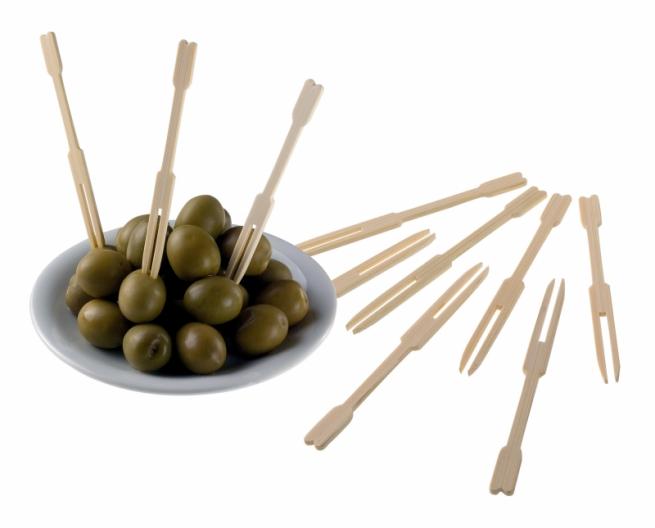 Forchettina 2 punte in bamboo naturale da 9 cm confezione da 500 pezzi