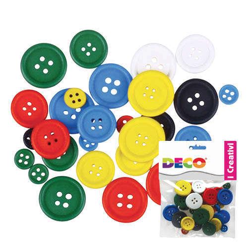 Bottone in legno, colore e diametro assortiti, confezione da 30 pezzi