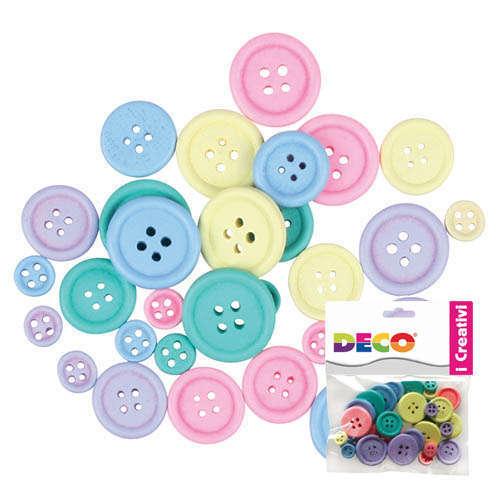 Bottone in legno, diametro assortito, colore pastello, confezione 30 pezzi