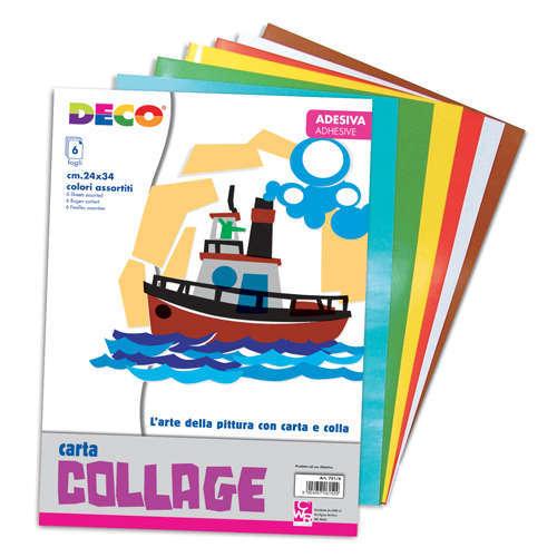 Fogli carta collage adesiva, 24x34cm, colori assortiti, confezione da 6 pezzi