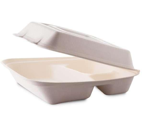 Contenitore polpa di cellulosa biodegradabile e compostabile con 3 scomparti 325/70/60cc confezione da 50 pezzi