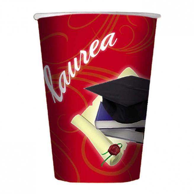 Bicchiere in cartoncino 200cc Laurea confezione da 10 pezzi