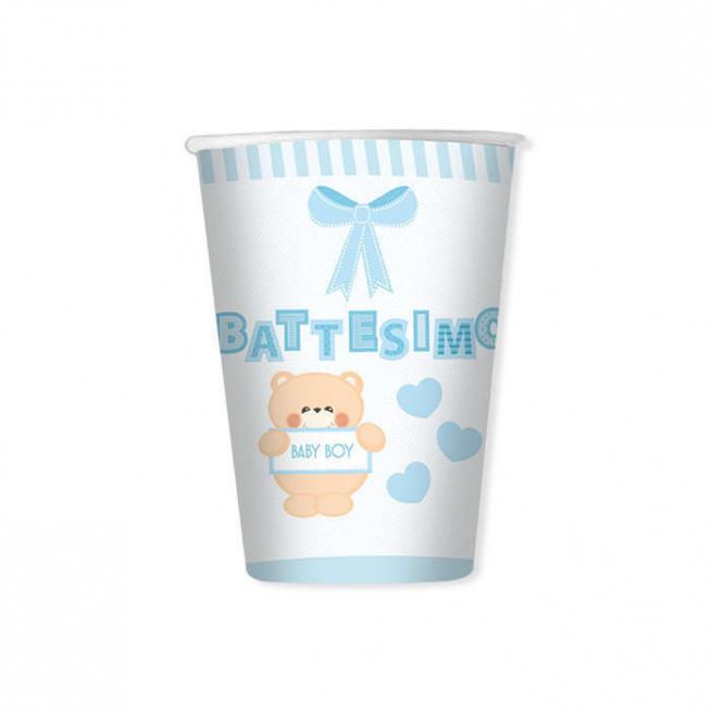 Bicchiere in cartoncino 200cc battesimo orsetto azzurro confezione da 8 pezzi