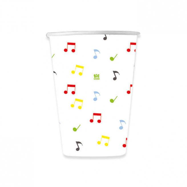 Bicchiere in cartoncino 200cc fantasia note musicali confezione da 8 pezzi