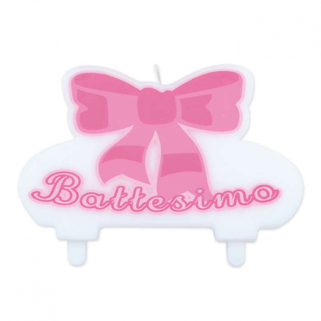 """Candela  sagomata con scritta """"il mio battesimo"""", colore rosa"""