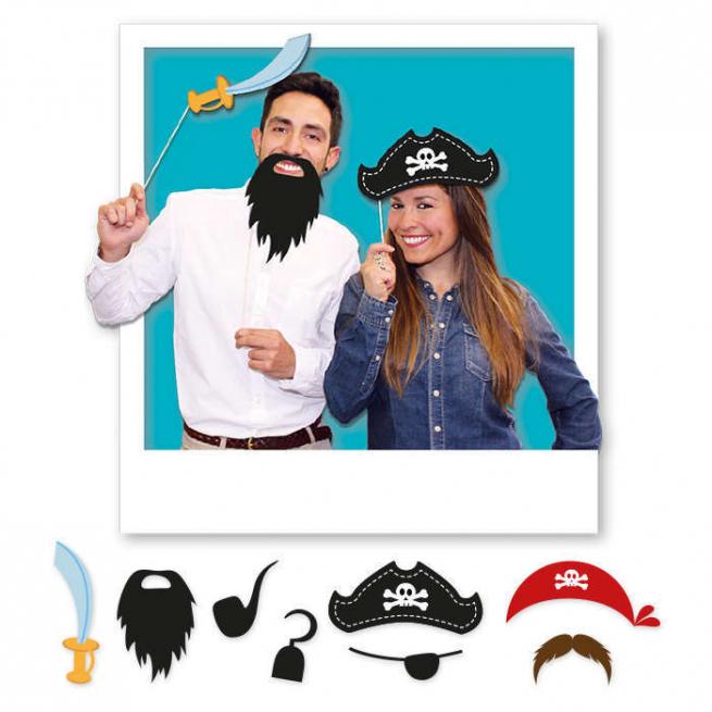 """Photo booth """"Pirati"""", confezione da 8 pezzi assortiti"""