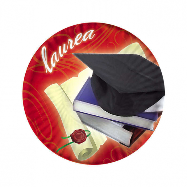Piatto in cartoncino diametro 18cm  Laurea confezione da 10 pezzi