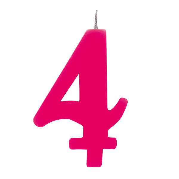 """Candela scintillante numero """"4"""" colore fucsia, alta 9.5cm con supporto"""