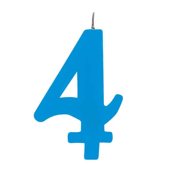 Candela scintillante numero 4 colore turchese, alta 9.5 cm con supporto
