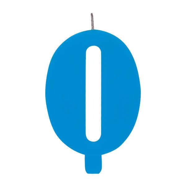 Candela scintillante numero 0 colore turchese, alta 9.5 cm con supporto