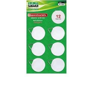 Etichette appendino adesive tonde bianche diametro 30 mm con ganci in confezione da 12 pezzi