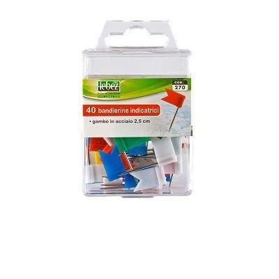 Bandierine indicatrici a spillo da 25 mm, colori misti ed in confezione da 40 pezzi