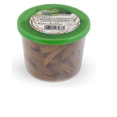 BARATTOLO di ELASTICI da 50 grammi in puro caucciù in colori assortiti