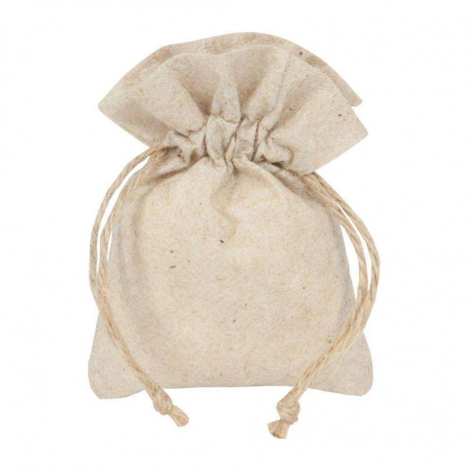 Sacchetto in juta e tessuto non tessuto con stringa crema cm 10 x 14 confezione da 10 pezzi