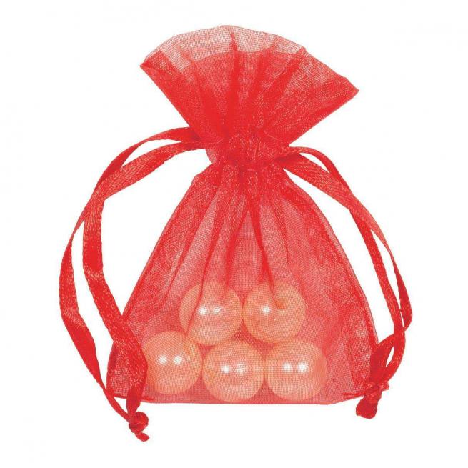 Sacchetto in organza rosso con tirante, confezione da 10 pezzi