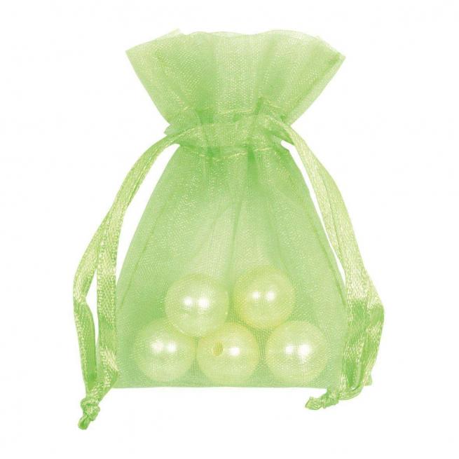 Sacchetto in organza verde chiaro con tirante, confezione da 10 pezzi