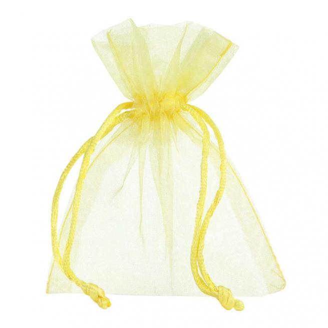 Sacchetto in organza giallo con tirante, confezione da 10 pezzi