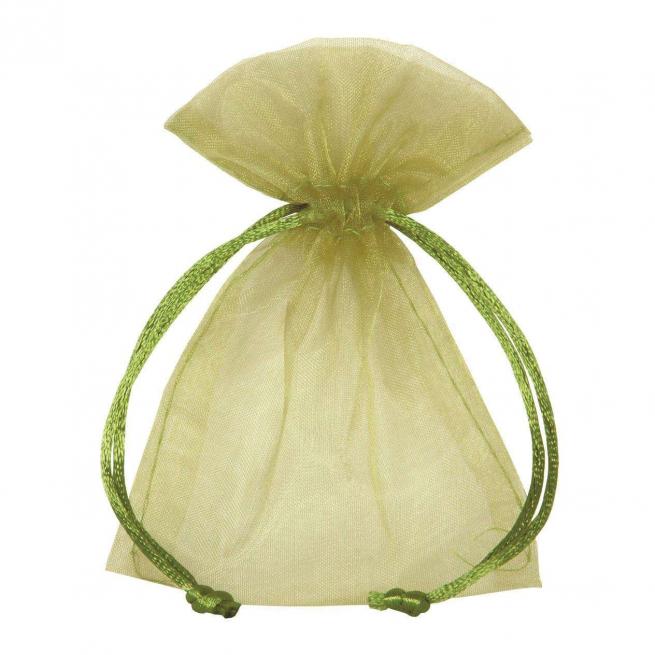 Sacchetto in organza verde scuro con tirante, confezione da 10 pezzi