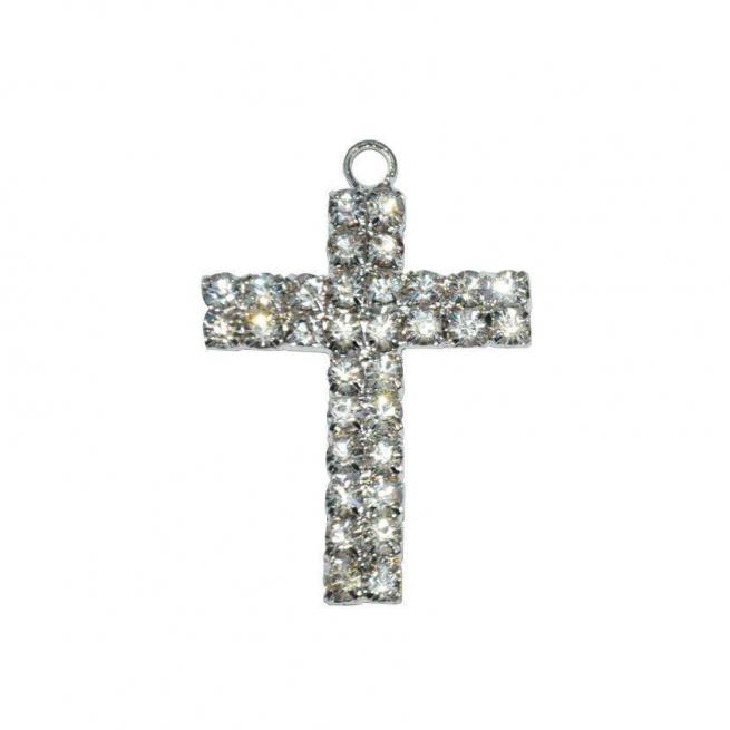 Croce con strass e foro cm 4.5 x 3 confezione da 3 pezzi