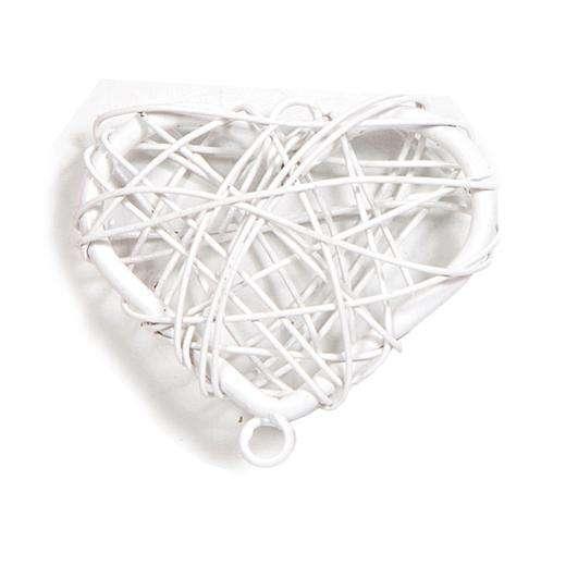 Cuore intrecciato con fil di ferro e foro bianco cm 3 x 2.5 confezione da 12 pezzi