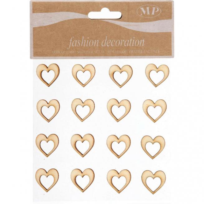 Cuore legno naturale cm 2 confezione da 16 pezzi