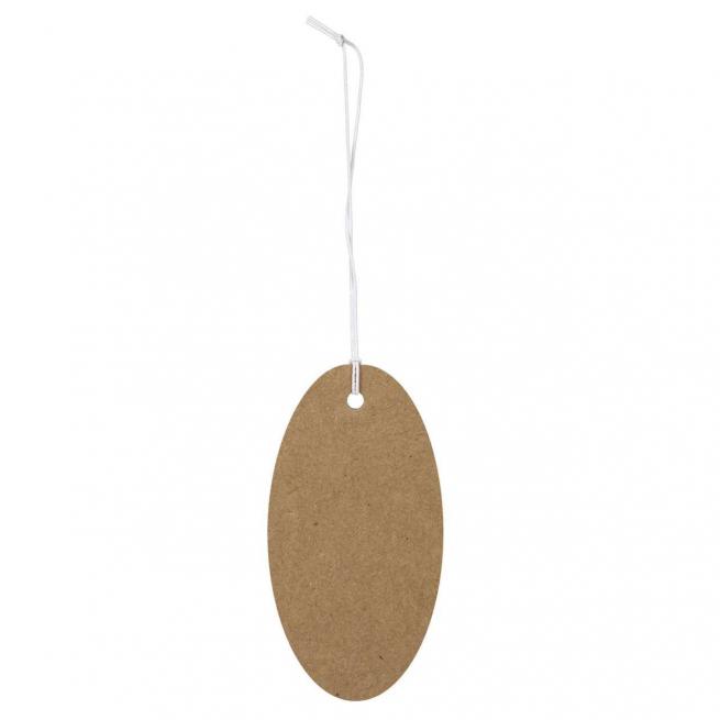 Etichetta tag ovale in cartoncino naturale, con filo elastico