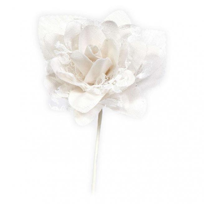 Rosa in tessuto bianco con pizzo, diametro cm 7 h cm 15, confezione da 12 pezzzi
