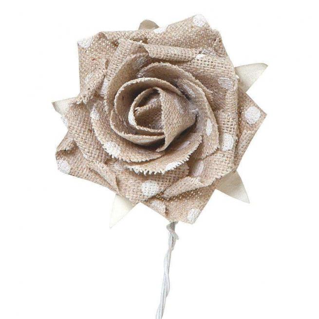 Rosa in tessuto écru pois bianco cm 4.3 confezione da 9 pezzi