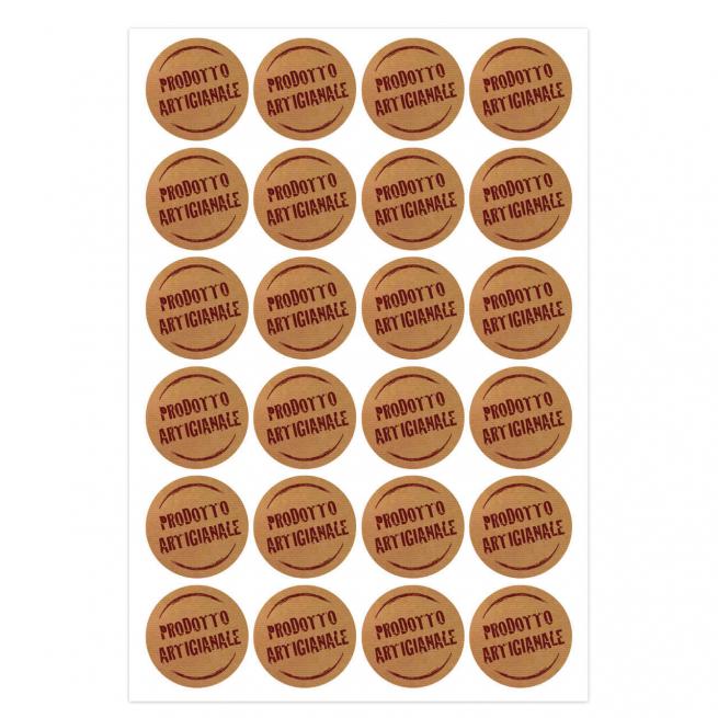 """Etichetta adesiva tonda avana con scritta """"prodotto artigianale"""" in marrone, diametro cm 3, confezione da 240 pezzi"""