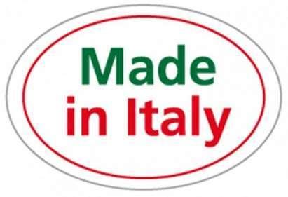 """Etichetta adesiva 0vale con dicitura """"made in italy"""", grafica tricolore, confezione da 360 pezzi"""