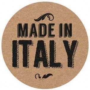 Etichetta adesiva rotonda in kraft avana, con scritte assortite in nero, diametro cm 3, confezione da 240 pezzi