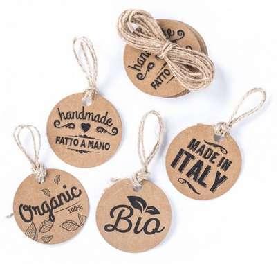 Etichetta tag rotonda in kraft avana con cordino, con scritte assortite, diametro cm 5, confezione da 20 pezzi
