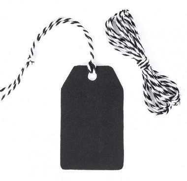 Etichetta tag nero con foro e cordellino in confezione da 20 pezzi