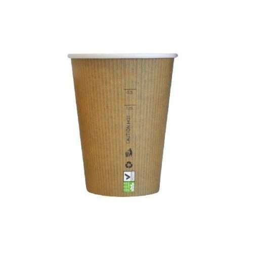 Bicchiere cappuccio kraft avana 230cc biodegradabile confezione da 50 pezzi