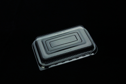 Coperchio PET trasparente per vaschette in alluminio base rettangolare